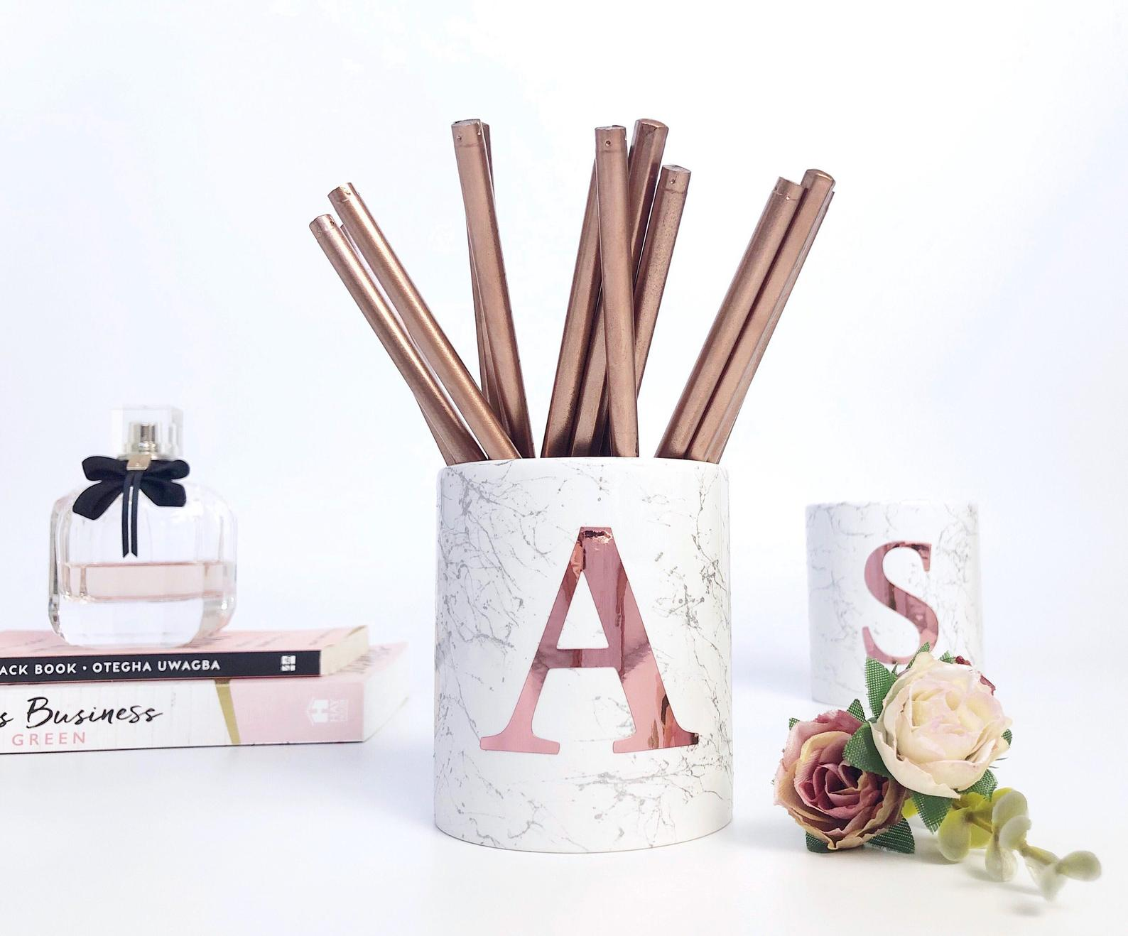 monogram pencil pot holder - Planner gift ideas