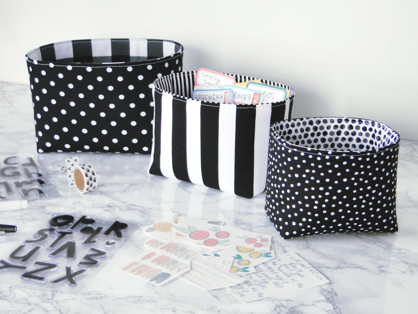 Black and White fabric bins for a pretty desk