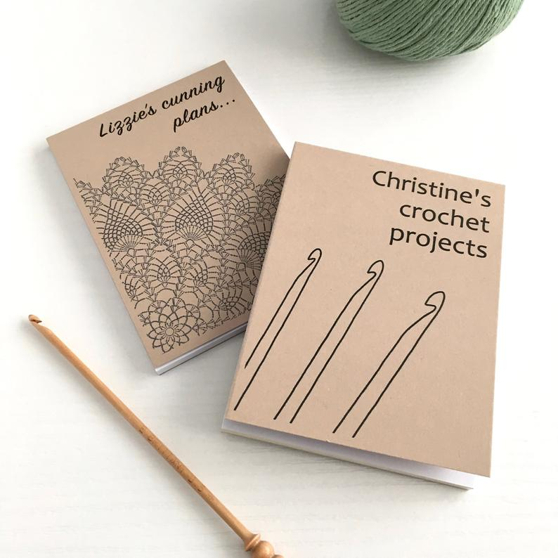 gifts for crochet lovers etsy - personalised crochet journal for your crafting projects
