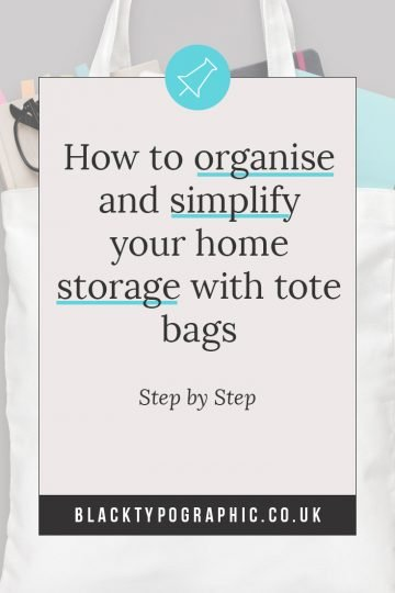 how to organize and simply your home storage for small spaces. These space saving ideas use the humble cotton tote bag as a functional storage solution for the awkward spaces. Let me show you the ideas and hacks I use for those items that don't fit neatly into boxes. Click to see though real life photos and ideas. #homeorganization #totes #storagesolutions #totebagcanvas